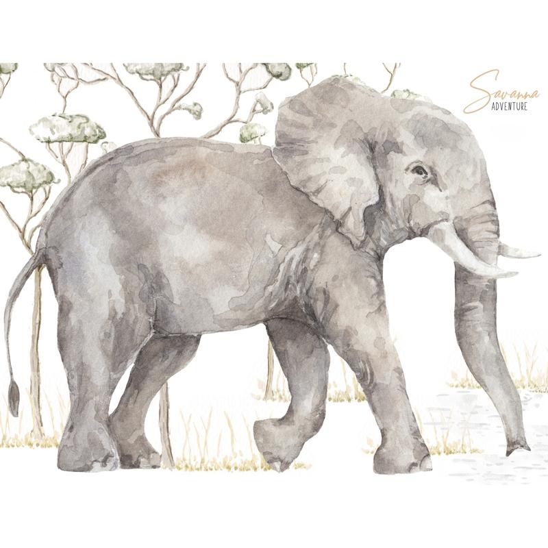 Wandsticker 'Elefant' grau