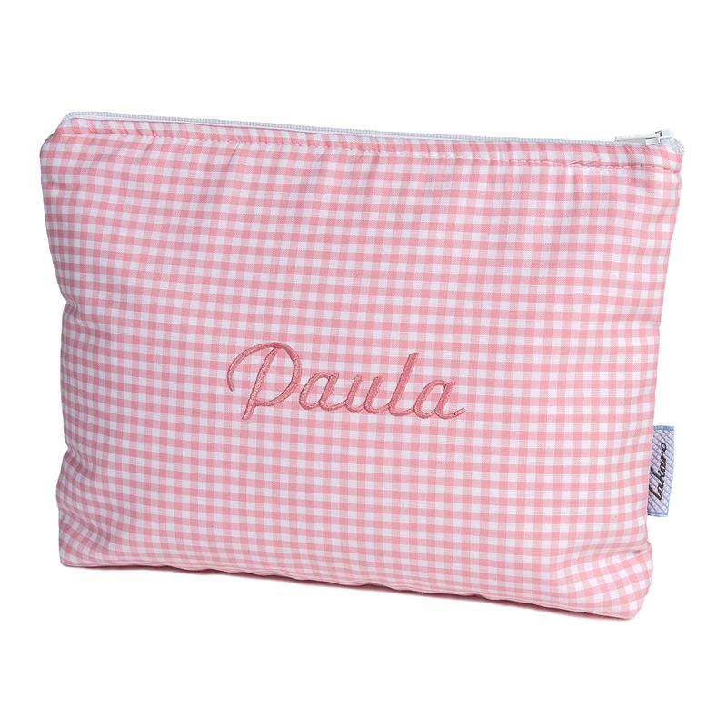 Kulturbeutel Vichy rosa personalisiert