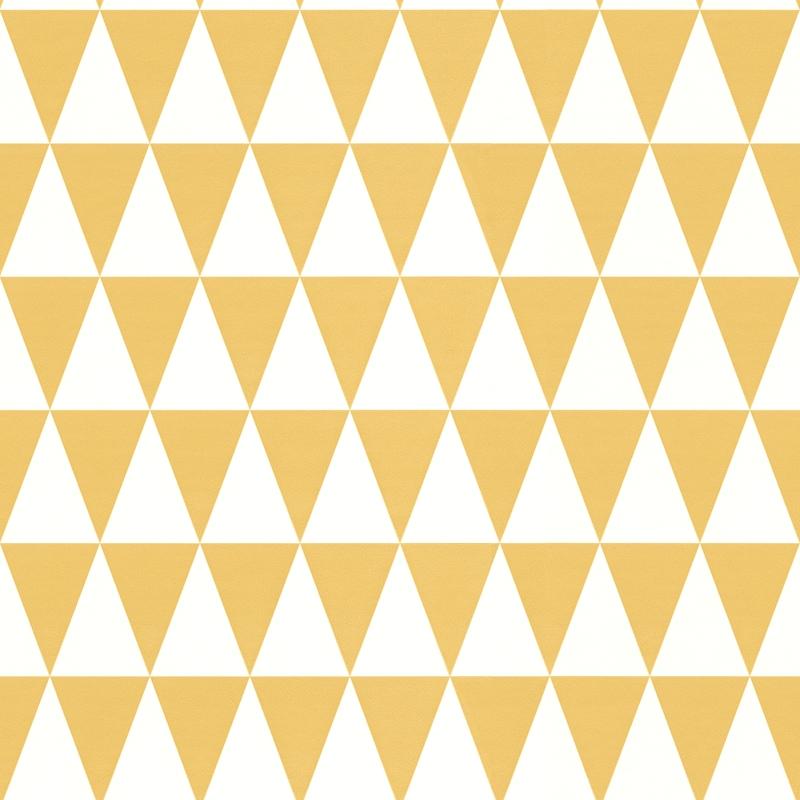 Vliestapete 'Dreiecke' senfgelb/weiß