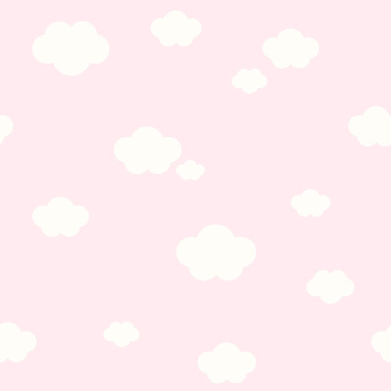 Kindertapete 'Wolken' rosa/weiß
