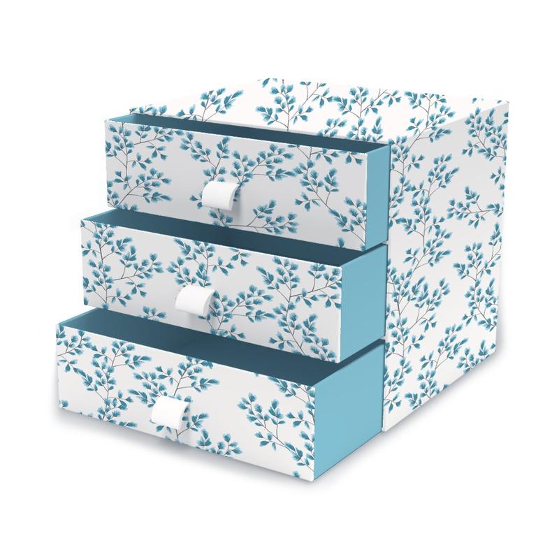 Schubladenbox 'Fiori' Pappe blau 21cm
