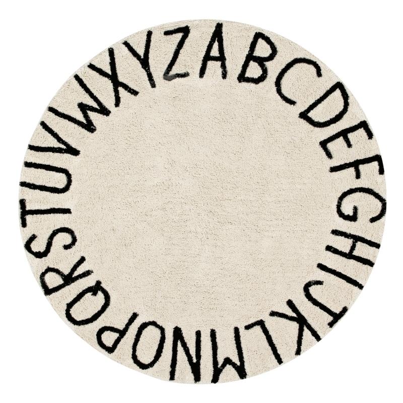 Teppich 'ABC' natur/schwarz 150cm waschbar