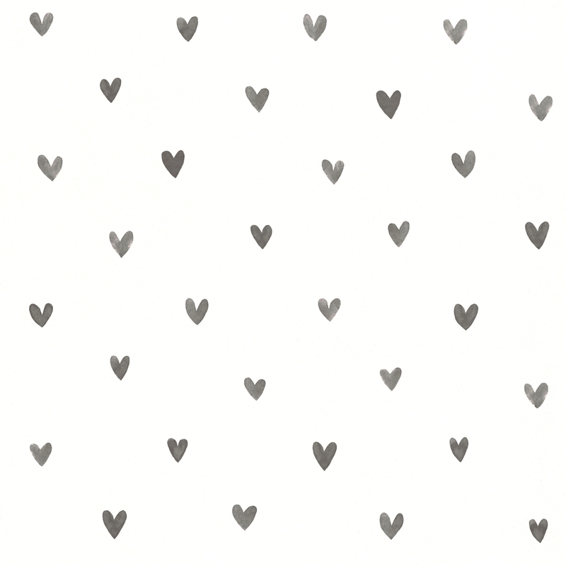 Vliestapete 'Herzen' weiß/dunkelgrau