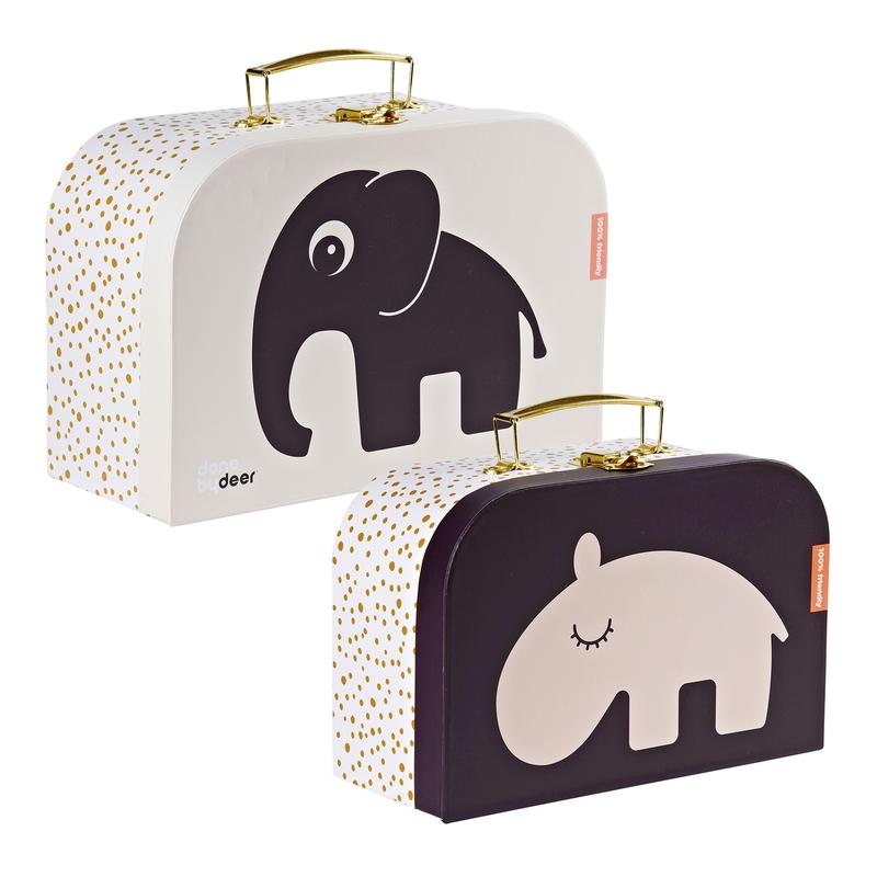 Kinderkoffer 'Elefant/Nilpferd' rosa 2er Set
