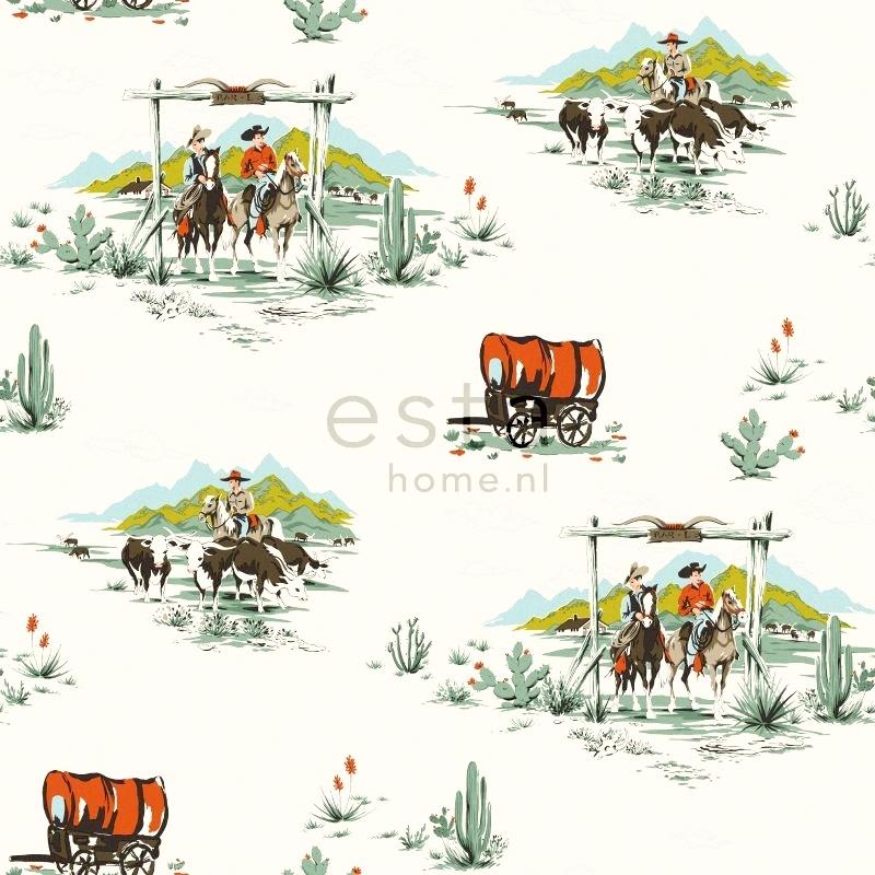 Vliestapete 'Cowboy' mint/orange