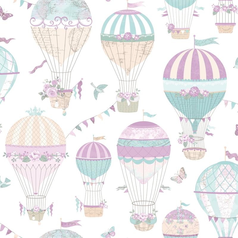 Vliestapete 'Heißluftballons' lila/mint