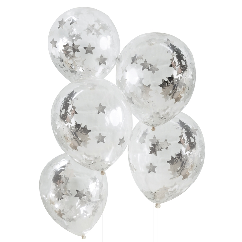Konfetti-Luftballons 'Sterne' silber 5 St.