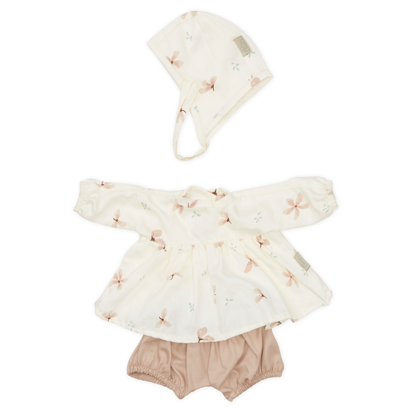 Puppenkleidung 'Windflower' creme/rosa 3-tlg.