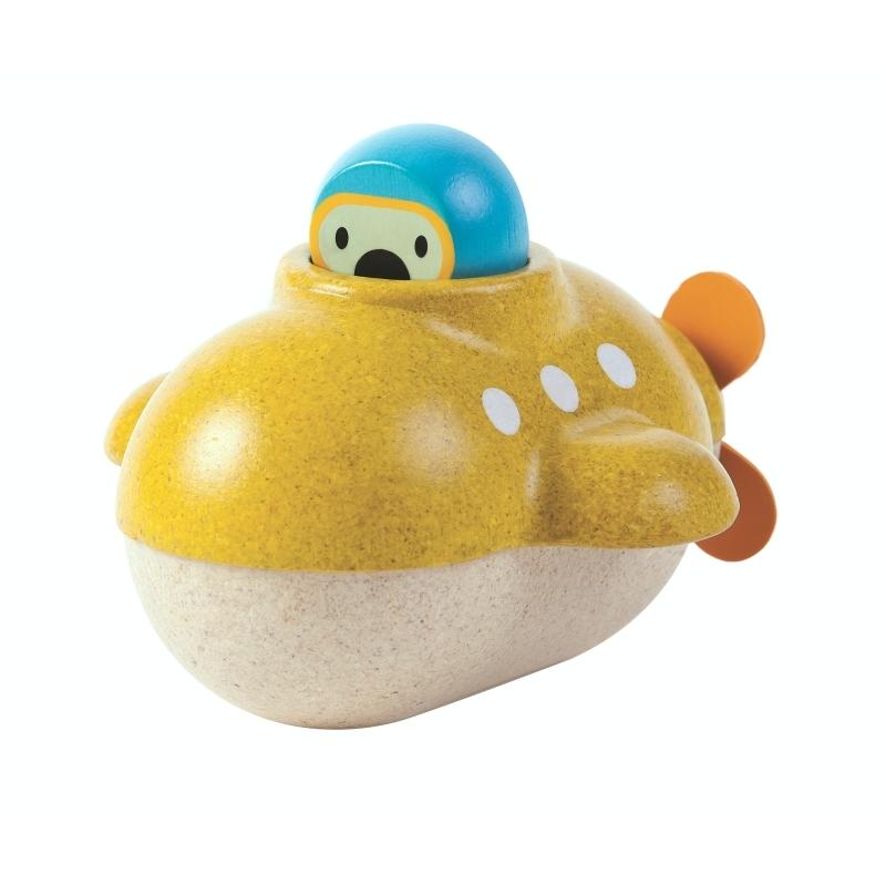 Badespielzeug 'U-Boot' Holz gelb ab 1 Jahr