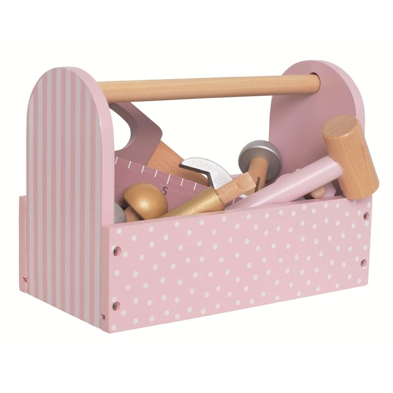 Werkzeugkiste aus Holz rosa/gold ab 2 Jahren