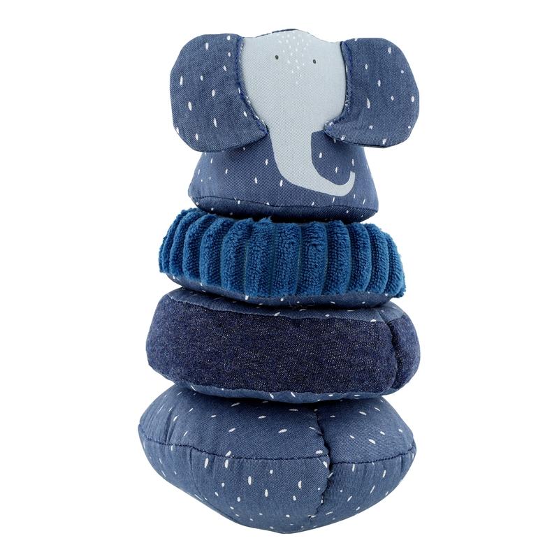 Stapelturm aus Stoff 'Elefant' blau ca. 25cm