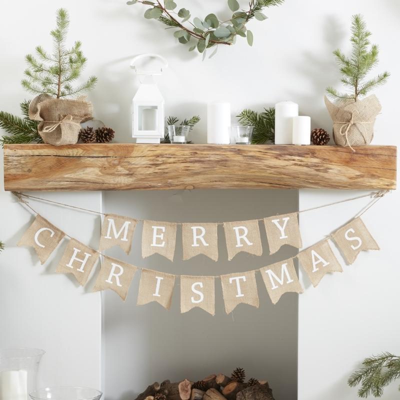 Stoffgirlande 'Merry Christmas' Jute 250cm