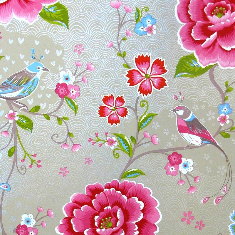 Vliestapete 'Birds in Paradise' taupe