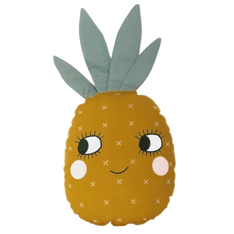 Spielkissen 'Ananas' bestickt senfgelb