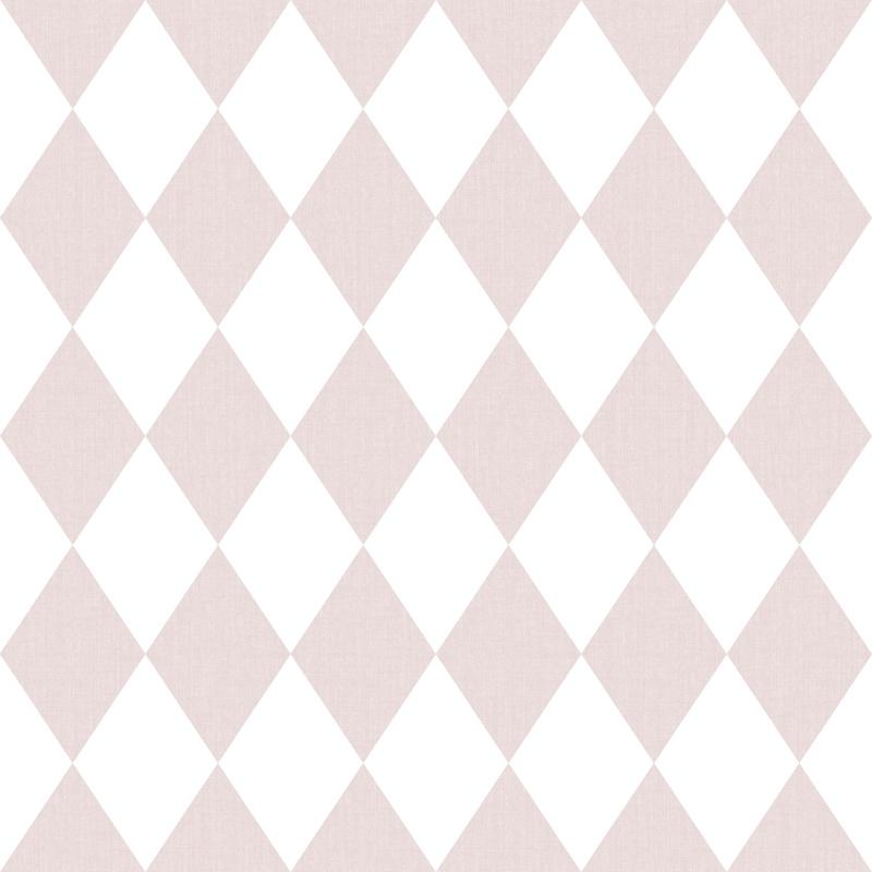 Vliestapete 'Rauten' puderrosa/weiß