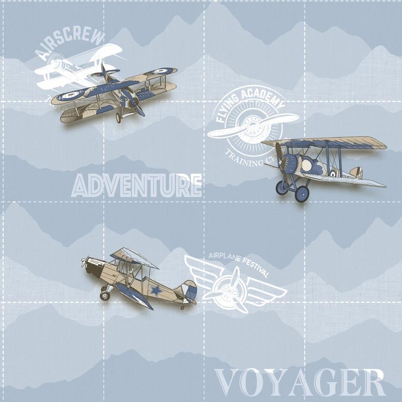 Vliestapete 'Flugzeuge' hellblau/gold