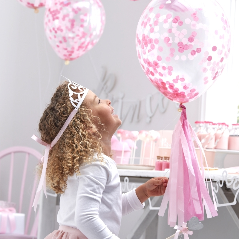 Luftballons transparent/rosa 5 St.