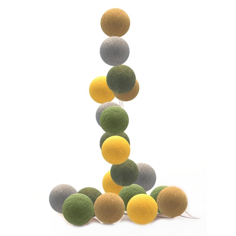 Lichterkette Cotton Balls LED senf/grün/grau