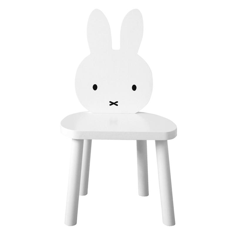 Miffy Stuhl aus Massivholz weiß handmade