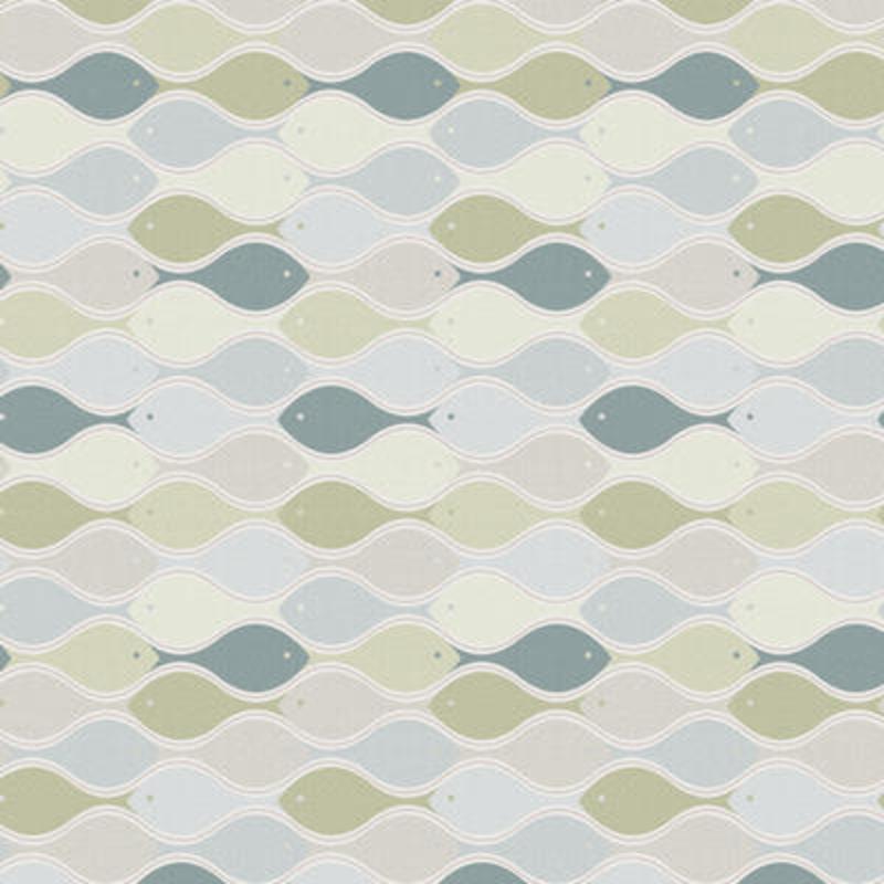 Vlies Tapetenwandbild 'Fische' blau/grün 90x265cm