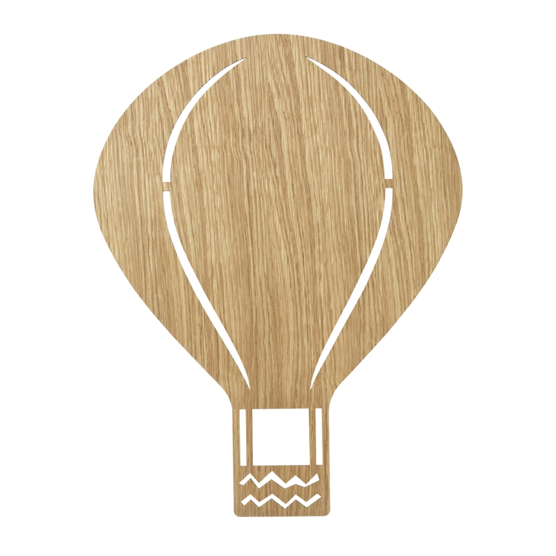 Wandlampe 'Heißluftballon' Holz natur 26x34cm
