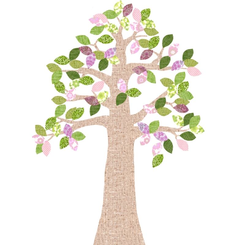 Tapetenbaum natur/rosa/grün 230cm