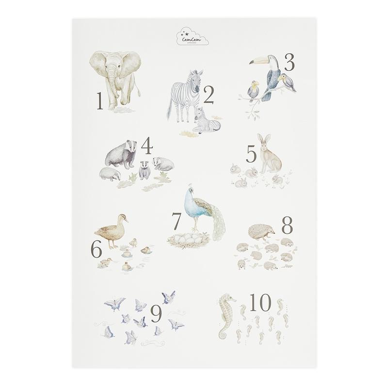 Poster 'Zahlen & Tiere' creme 42x59cm