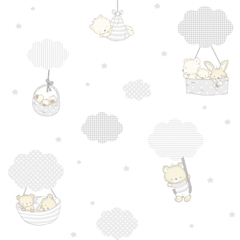 Kindertapete 'Bärchen & Wolken' grau/beige