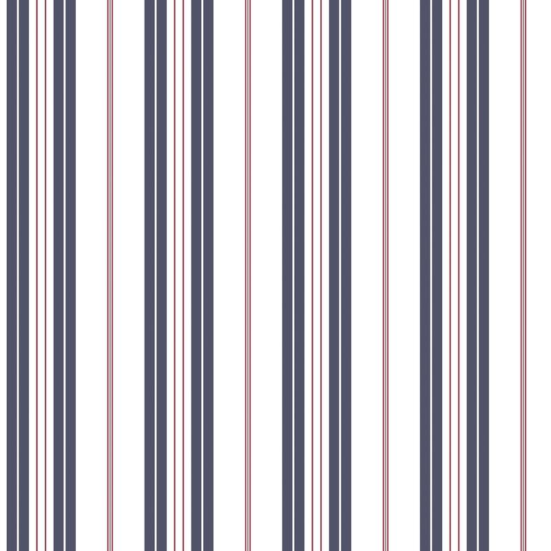 Vliestapete 'Streifen' marine/rot