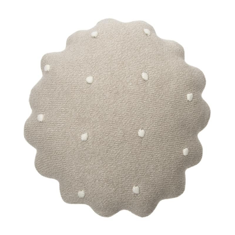 Kissen aus Baumwollstrick 'Biscuit' beige ca. 25cm
