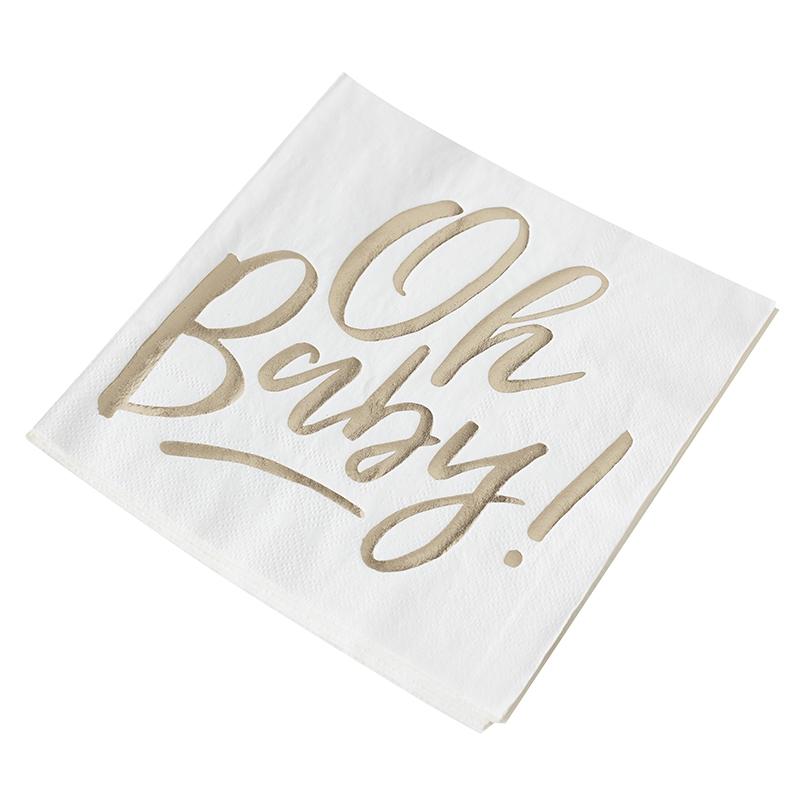 Servietten 'Oh Baby' weiß/gold 16 Stk.