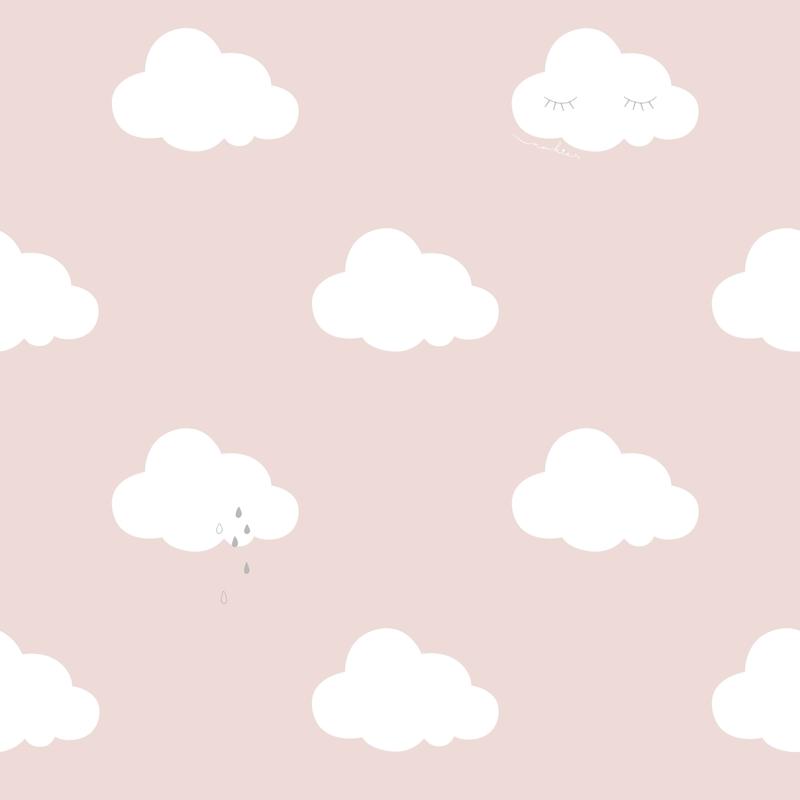 Tapete 'Wolken' rosa/weiß/silber