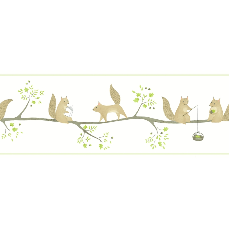 Bordüre 'Rose & Nino' Eichhörnchen grün/braun
