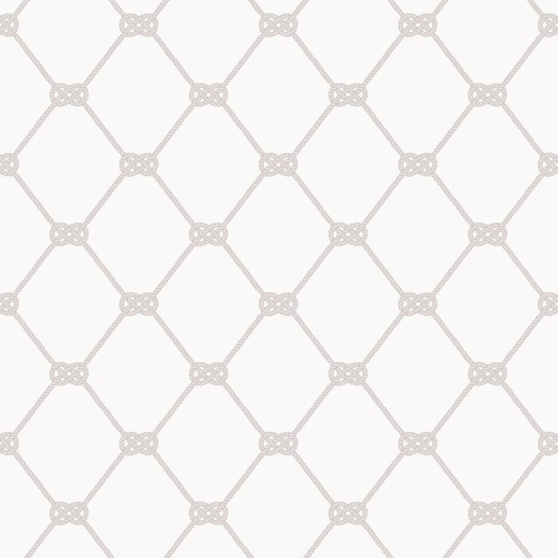 Vliestapete 'Seemannsknoten' weiß/grau