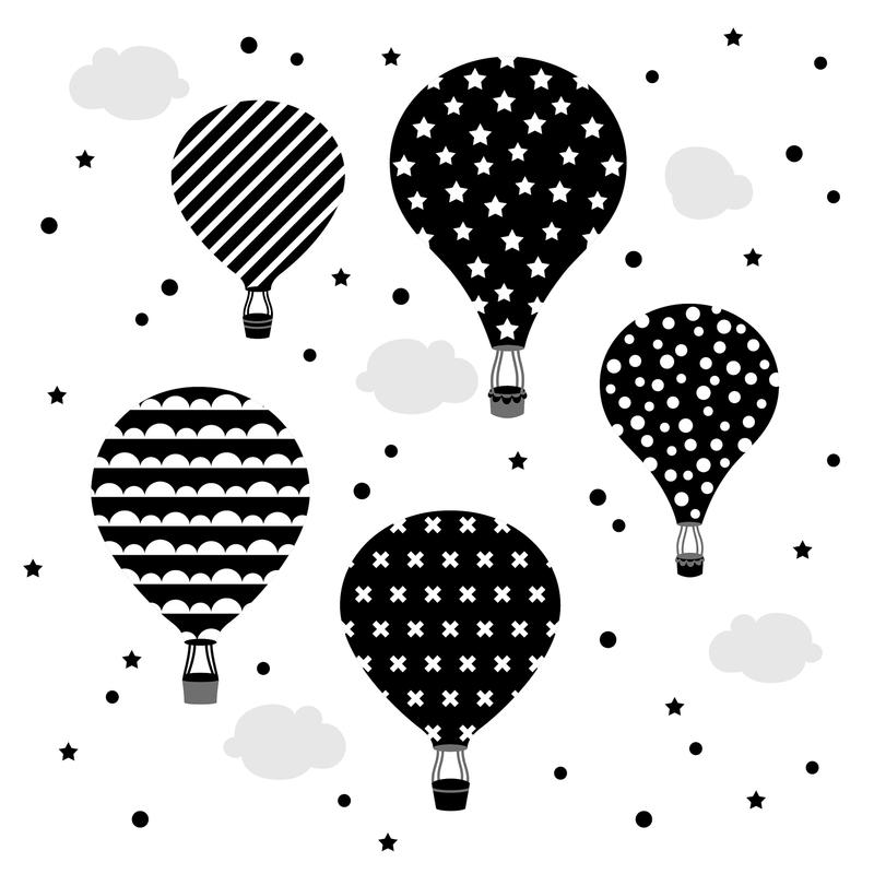 Wandsticker 'Heißluftballons' schwarz/weiß
