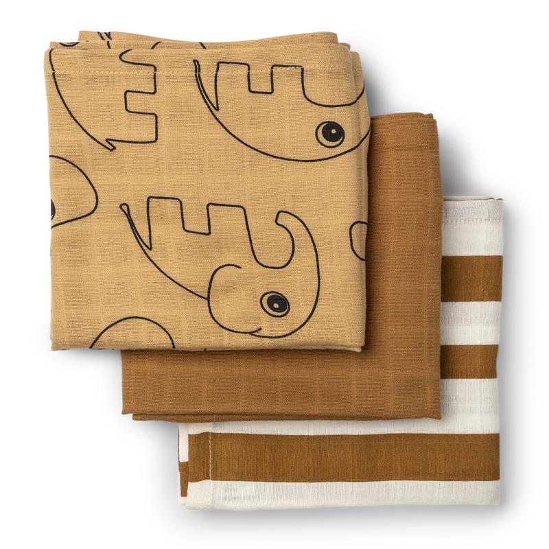Mulltücher 'Deer Friends' camel 70x70cm