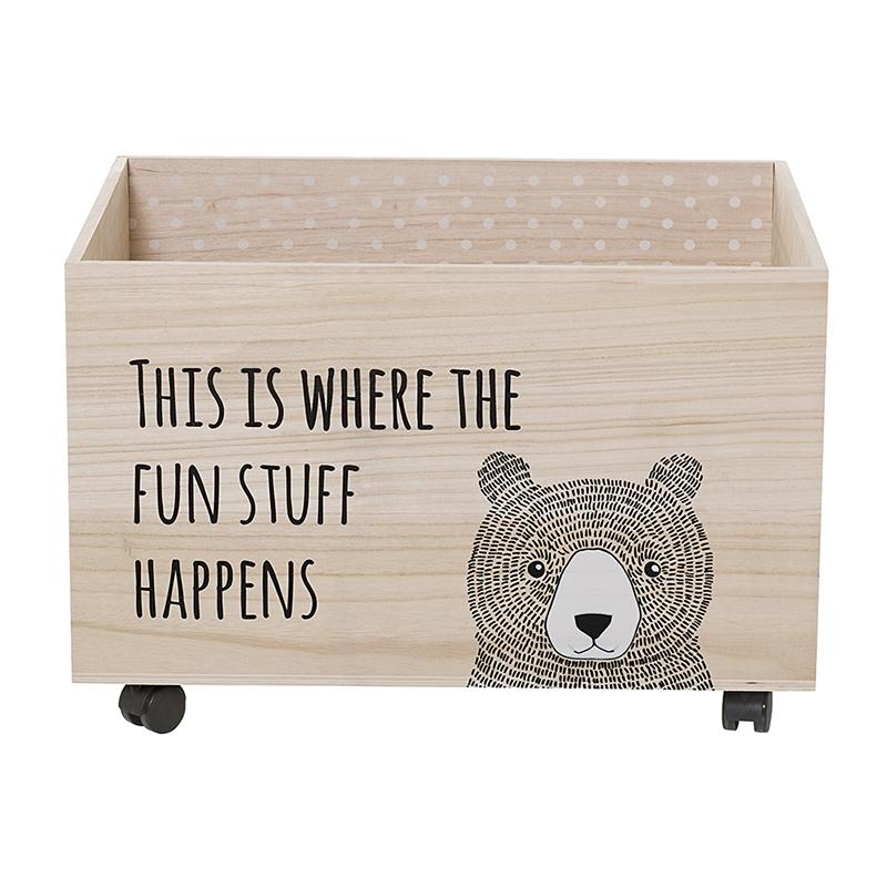 Spielzeugkiste auf Rollen 'Bär' natur 60cm