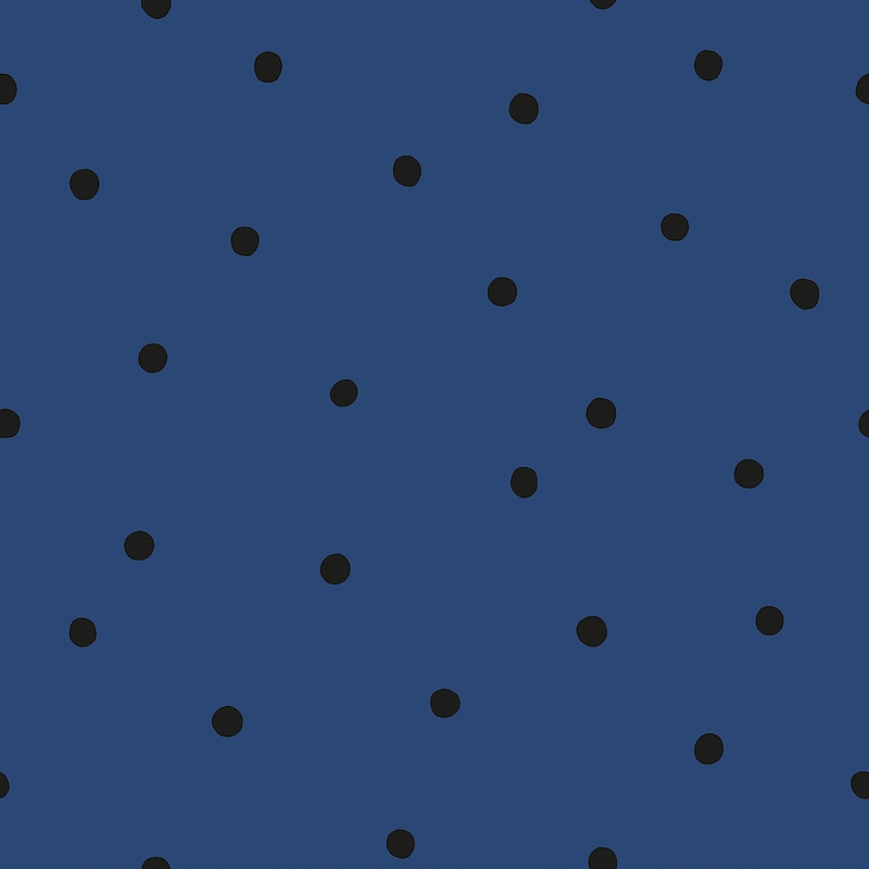 Vliestapete 'Punkte' dunkelblau/schwarz