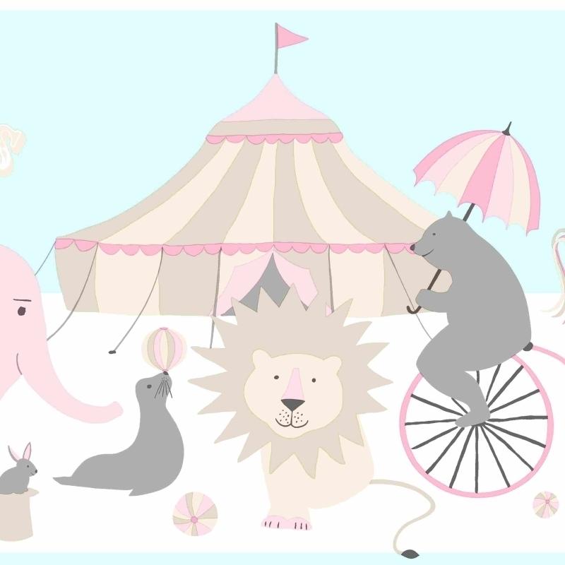 Bordüre 'Zirkus' rosa/beige/aqua