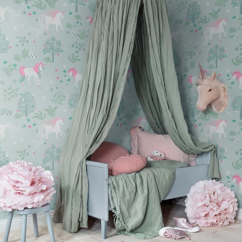 Fototapete 'Einhorn' mint/rosa 180x270cm