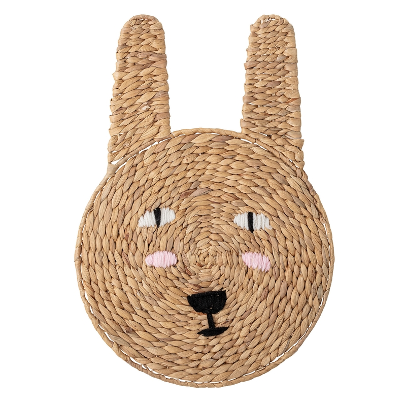 Wanddeko 'Hase' aus Rattan 52cm