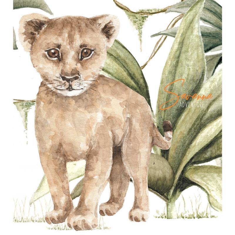Wandsticker 'Baby Löwe' beige 60x70cm