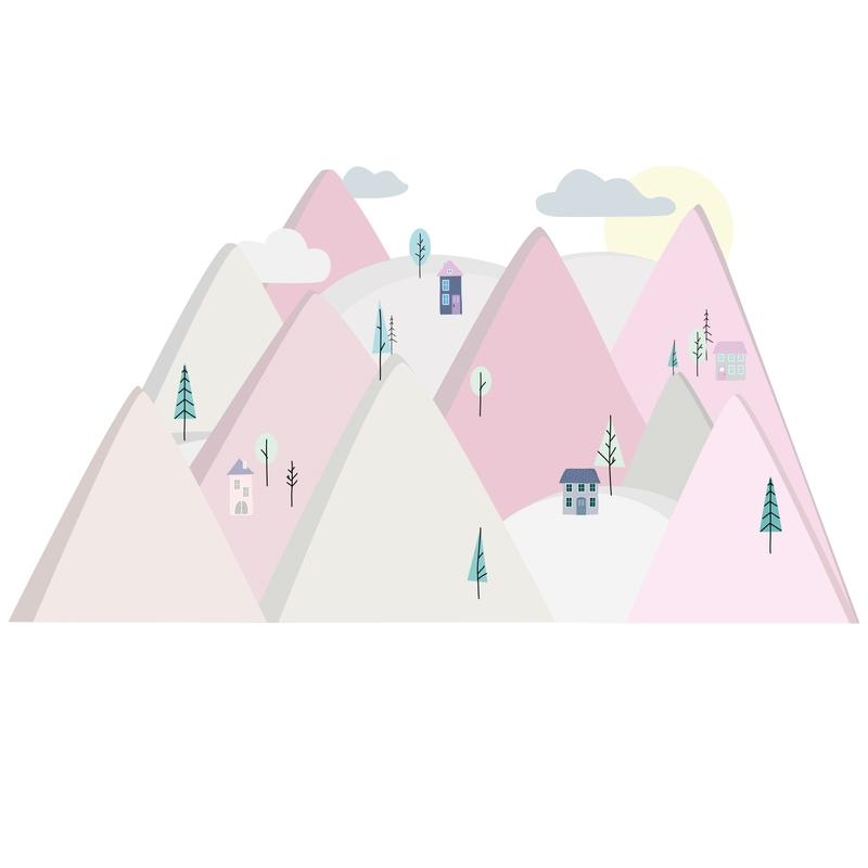 XL-Wandsticker 'Berge' rosa/beige
