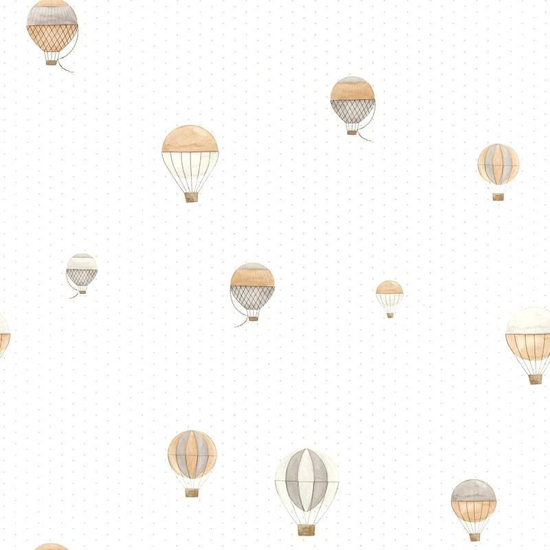 Tapete 'My Little World' Heißluftballons beige