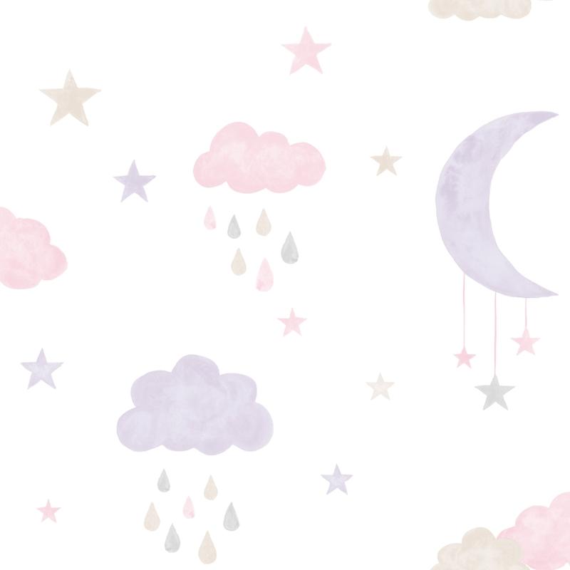 Vliestapete 'Wolken & Sterne' lila/rosa