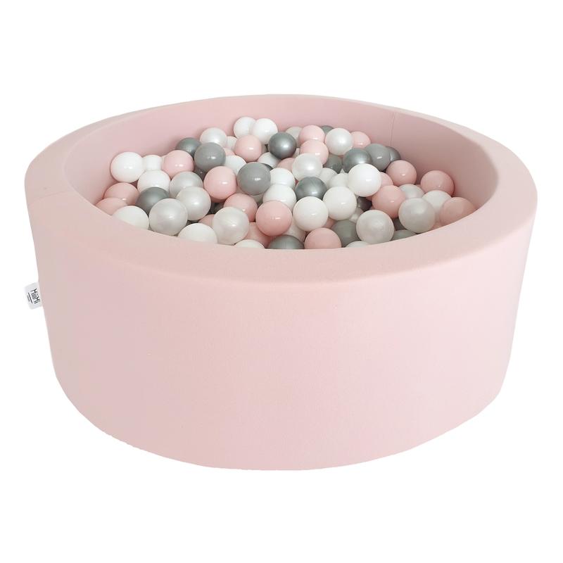 Bällebad altrosa 200 Bälle rosa/silber/weiß