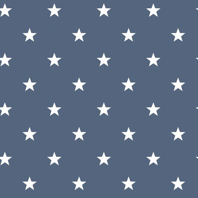 Vliestapete 'Sterne' dunkelblau/weiß