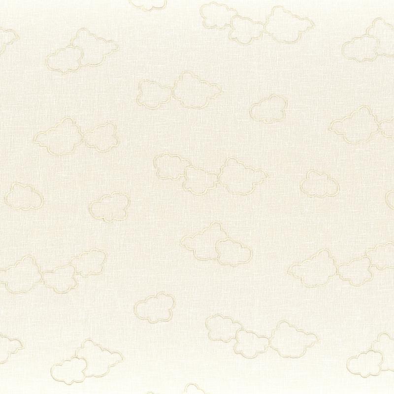 Stoff mit Stickerei 'Wolken' transparent/creme