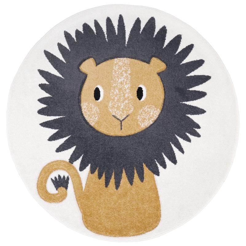 Teppich 'Löwe Jaggo' rund senfgelb 120cm