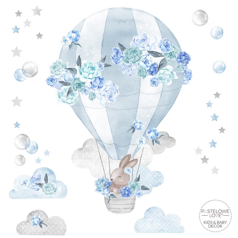 Wandsticker 'Heißluftballon' hellblau 73cm